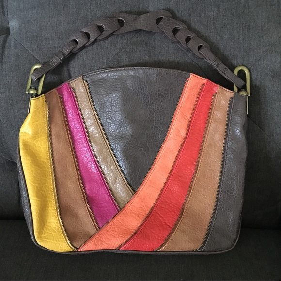 7a0c00ce19d5 Jessica Simpson Handbags - Rainbows Edge Multi-Color Large Hobo Zipper Bag